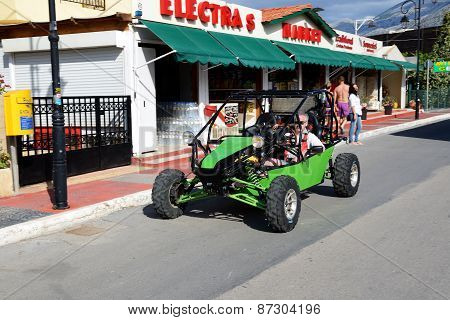 Crete, Greece - May 15: The Man In A Buggy Car Is On A Street, On May 15, 2014, Crete, Greece. Up To