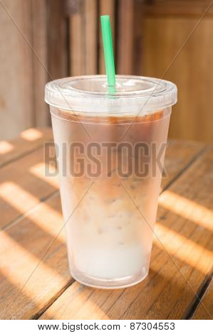Double Wall Glass Of Iced Coffee Latte
