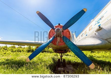 Turbine Of Old Russian Turboprop Aircraft At The Abandoned Aerodrome In Summertime