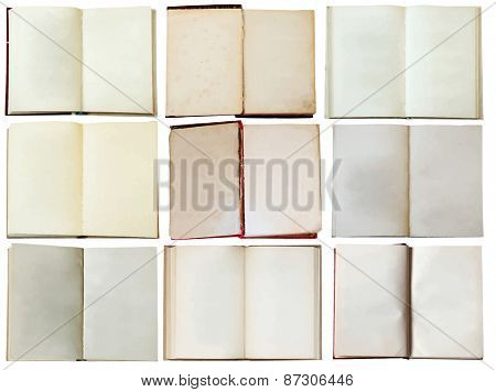 blank open books, vector
