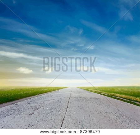 road in a fields at sunset, vector