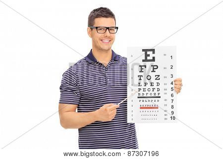 Young man with glasses holding an eyesight test and pointing on it with a wooden stick isolated on white background