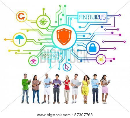 Group of People with Network Security Concept