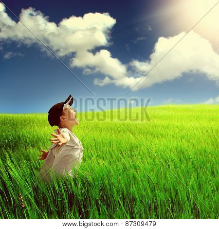 Happy Child In The Field