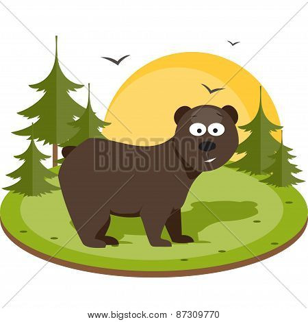 Brown Bear. Flat Vector Illustration