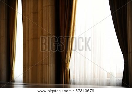 Yellow Velvet Window Curtain