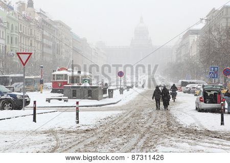 PRAGUE, CZECH REPUBLIC - FEBRUARY 23, 2013: Heavy snowfall covering the National Museum on Wenceslas Square in Prague, Czech Republic.