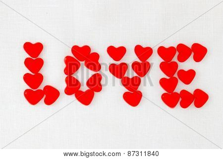 Red Jelly Beans Candy For Valentine's Day. Inscription Love