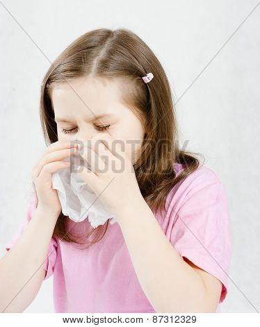 Girl With A Handkerchief. Childhood Disease