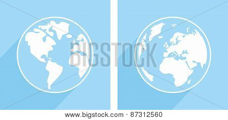 Hand drawn vector blue and white earth
