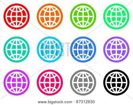 earth colorful vector flat icon set