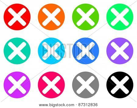 cancel colorful vector flat icon set