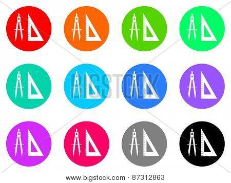 school colorful vector flat icon set
