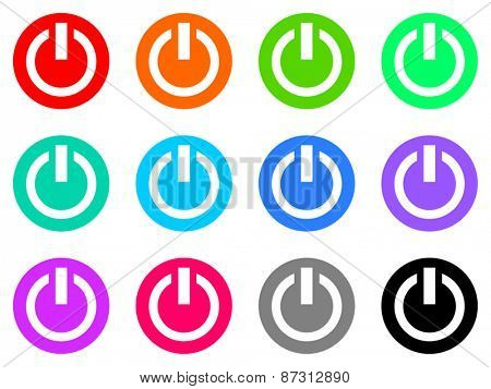 power colorful vector flat icon set
