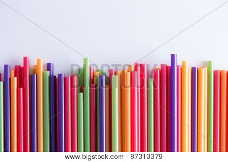 Multicolored Drinking Straws In A Festive Pattern