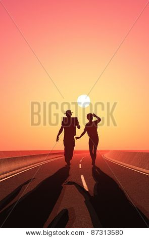 People walk on the road.