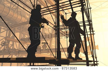Silhouette of worker at the plant.