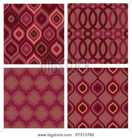 Set Of Seamless Abstract Marsala Patterns. Vector Geometric Background
