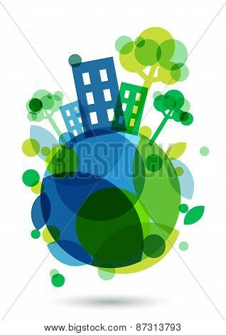 Colorful House Silhouette And Green Trees On The Earth. Abstract Vector Illustration. Ecology Backgr