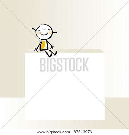 Little girl, kid with blank placard, copy space. Vector doodle drawing, sketch.