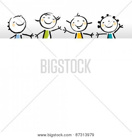Little girls, kids with blank, empty placard, banner. Vector sketchy illustration, doodle style.