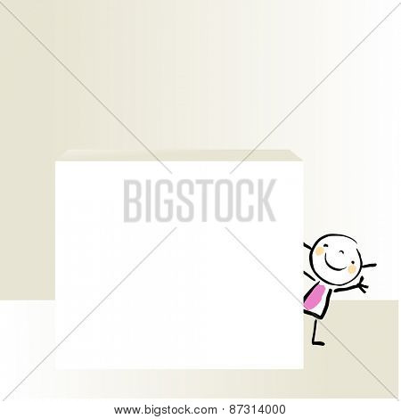 Little girl, kid peaking and waving hello, behind a blank placard. Vector doodle style sketchy illustration.