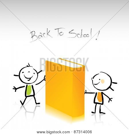 Happy little kids, holding a book. Education, back to school concept vector illustration, sketchy doodle style drawing.