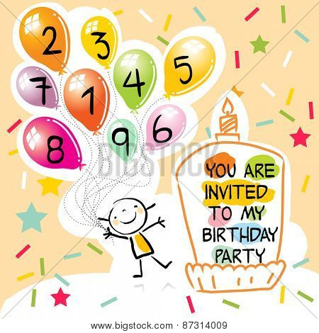 Happy birthday kids greeting card, party invitation. Colorful balloons, with doodle, line art drawing.