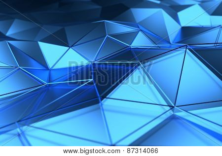 Abstract 3d rendering of blue surface.