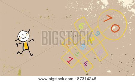 Little girl on playground, playing hopscotch game. Vector drawing, line art doodle, sketch style illustration.
