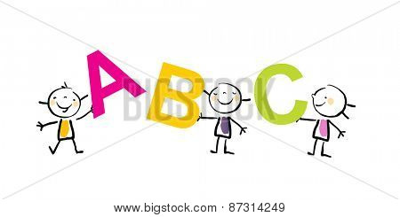Group of little kids holding abc letters. Education, learning concept,  vector illustration, doodle sketchy style.
