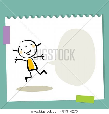 Little girl, kid with empty speech balloon. Blank space for text insertion. Happy smiling kid jumping.