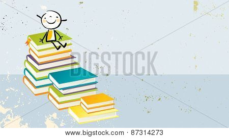 Happy little girl, on pile of books. Learning, education, back to school doodle style vector illustration.