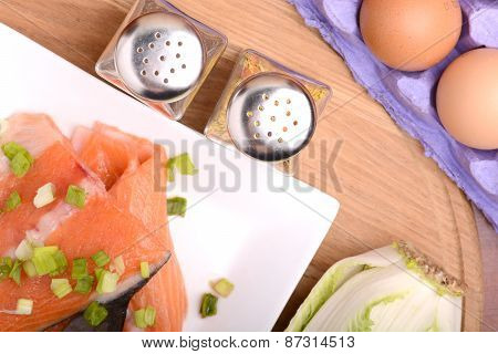 Slice Of Red Fish Salmon With Eggs