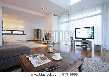 Spacious And Bright Living Room With Tv
