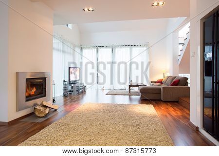 White Light Living Room With Fireplace