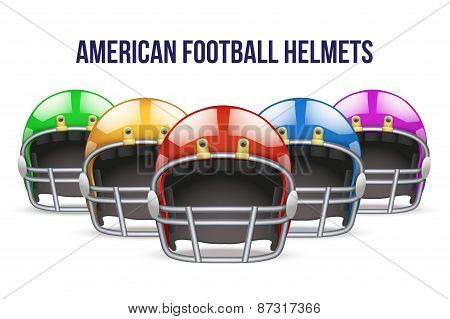 Set of Realistic American football helmet. Front view. Vector