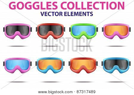Set of Classic snowboard ski goggles with colorful glass.