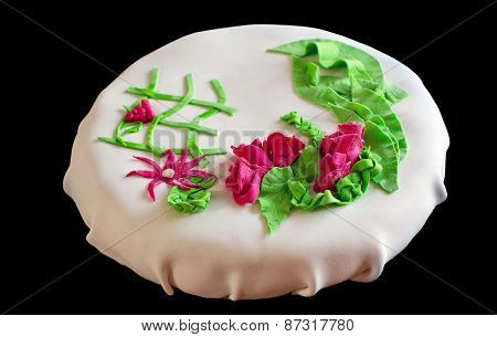 White Cake With Roses And Leaves Made Of Marzipan