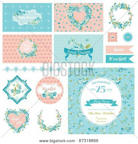 Baby Scrapbook Party Set - Flower Theme - Design Elements, Backgrounds - in vector