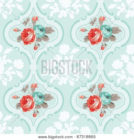 Vintage Floral Background - Seamless Rose Flowers Pattern - in vector