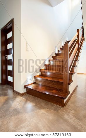 Wooden Staircase In Modern House