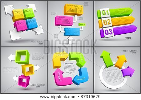 Set of colorful cubes with arrows 3D