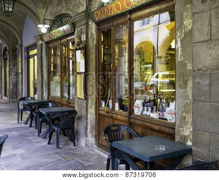 Outside of an old typical Italian Trattoria. Color image