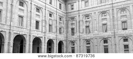 Parma, Pilotta Palace facade. Black and white photo