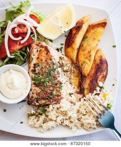 Greece food - Grilled salmon and vegetables