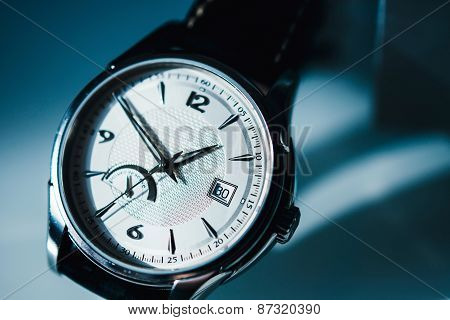 Luxury Watch On Blue Background