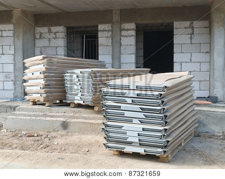 Window packages at a construction site