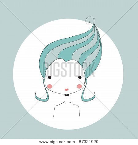 Horoscope Aquarius Sign, Girl Head