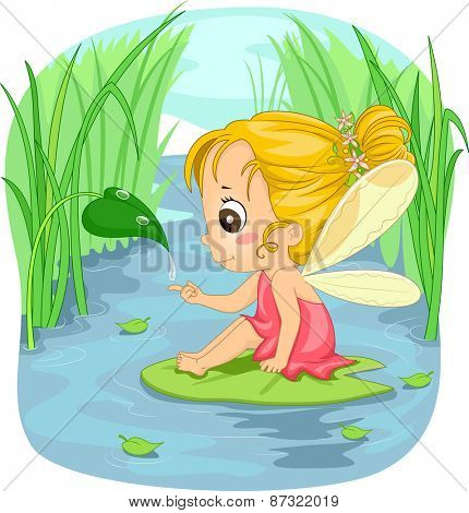 Illustration of a Little Girl Dressed as a Fairy Sitting on a Lotus Leaf